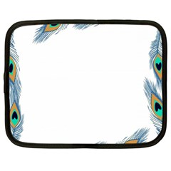 Beautiful Frame Made Up Of Blue Peacock Feathers Netbook Case (xl)