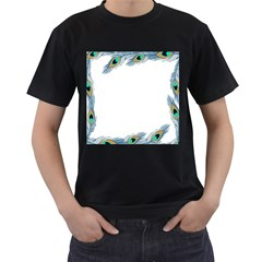 Beautiful Frame Made Up Of Blue Peacock Feathers Men s T Shirt (black)