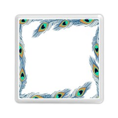 Beautiful Frame Made Up Of Blue Peacock Feathers Memory Card Reader (square)  by Nexatart