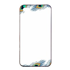 Beautiful Frame Made Up Of Blue Peacock Feathers Apple Iphone 4/4s Seamless Case (black)
