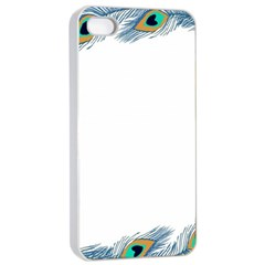 Beautiful Frame Made Up Of Blue Peacock Feathers Apple Iphone 4/4s Seamless Case (white) by Nexatart