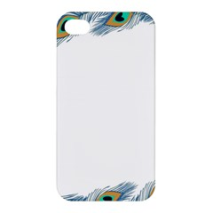 Beautiful Frame Made Up Of Blue Peacock Feathers Apple Iphone 4/4s Hardshell Case by Nexatart