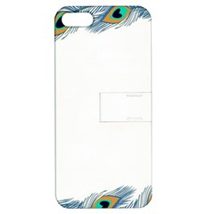 Beautiful Frame Made Up Of Blue Peacock Feathers Apple Iphone 5 Hardshell Case With Stand by Nexatart