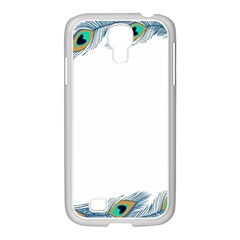 Beautiful Frame Made Up Of Blue Peacock Feathers Samsung Galaxy S4 I9500/ I9505 Case (white)