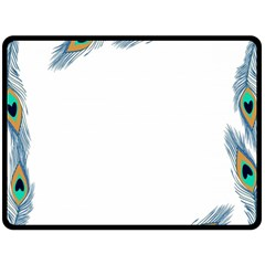 Beautiful Frame Made Up Of Blue Peacock Feathers Double Sided Fleece Blanket (large)  by Nexatart