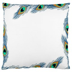 Beautiful Frame Made Up Of Blue Peacock Feathers Large Flano Cushion Case (one Side) by Nexatart