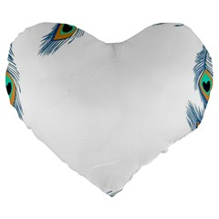 Beautiful Frame Made Up Of Blue Peacock Feathers Large 19  Premium Flano Heart Shape Cushions by Nexatart