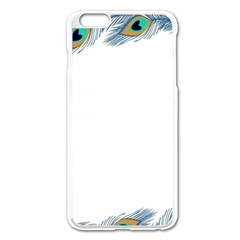 Beautiful Frame Made Up Of Blue Peacock Feathers Apple Iphone 6 Plus/6s Plus Enamel White Case by Nexatart
