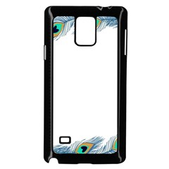 Beautiful Frame Made Up Of Blue Peacock Feathers Samsung Galaxy Note 4 Case (black)