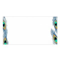 Beautiful Frame Made Up Of Blue Peacock Feathers Satin Shawl