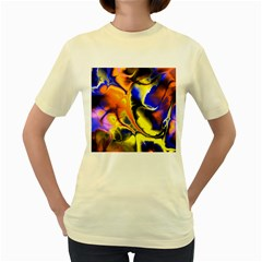 Fractal Art Pattern Cool Women s Yellow T Shirt