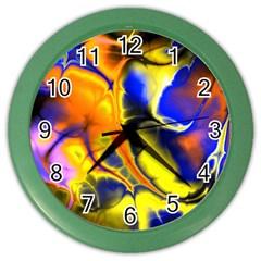 Fractal Art Pattern Cool Color Wall Clocks by Nexatart
