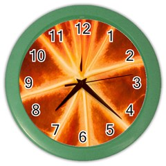 Red Leaf Macro Detail Color Wall Clocks by Nexatart