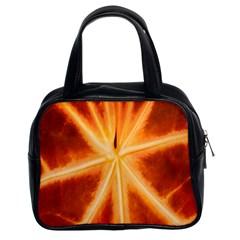 Red Leaf Macro Detail Classic Handbags (2 Sides)