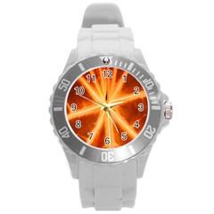 Red Leaf Macro Detail Round Plastic Sport Watch (l)