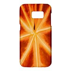 Red Leaf Macro Detail Samsung Galaxy S7 Hardshell Case  by Nexatart
