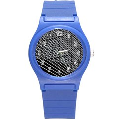 Abstract Architecture Pattern Round Plastic Sport Watch (s) by Nexatart