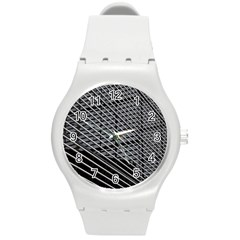 Abstract Architecture Pattern Round Plastic Sport Watch (m) by Nexatart