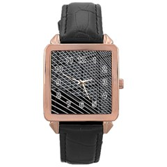 Abstract Architecture Pattern Rose Gold Leather Watch