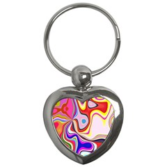 Colourful Abstract Background Design Key Chains (heart)  by Nexatart