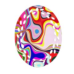 Colourful Abstract Background Design Oval Filigree Ornament (two Sides) by Nexatart