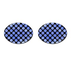 Circles2 Black Marble & Blue Watercolor Cufflinks (oval) by trendistuff