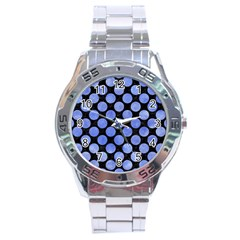 Circles2 Black Marble & Blue Watercolor Stainless Steel Analogue Watch by trendistuff