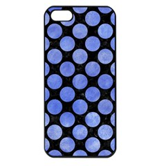 Circles2 Black Marble & Blue Watercolor Apple Iphone 5 Seamless Case (black) by trendistuff