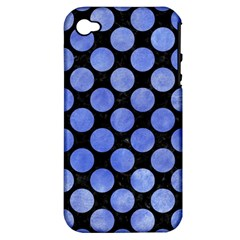 Circles2 Black Marble & Blue Watercolor Apple Iphone 4/4s Hardshell Case (pc+silicone) by trendistuff