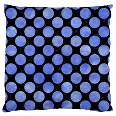 Circles2 Black Marble & Blue Watercolor Large Flano Cushion Case (one Side) by trendistuff