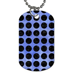 Circles1 Black Marble & Blue Watercolor (r) Dog Tag (one Side) by trendistuff