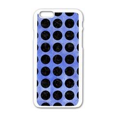 Circles1 Black Marble & Blue Watercolor (r) Apple Iphone 6/6s White Enamel Case by trendistuff