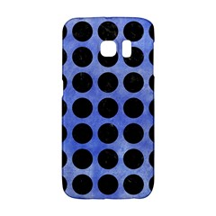 Circles1 Black Marble & Blue Watercolor (r) Samsung Galaxy S6 Edge Hardshell Case by trendistuff