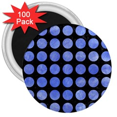 Circles1 Black Marble & Blue Watercolor 3  Magnet (100 Pack) by trendistuff