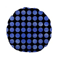 Circles1 Black Marble & Blue Watercolor Standard 15  Premium Flano Round Cushion  by trendistuff
