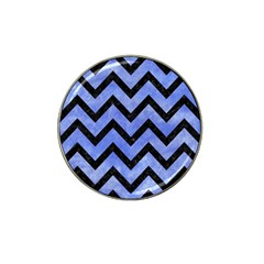 Chevron9 Black Marble & Blue Watercolor (r) Hat Clip Ball Marker (4 Pack) by trendistuff