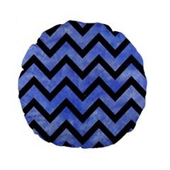 Chevron9 Black Marble & Blue Watercolor (r) Standard 15  Premium Flano Round Cushion  by trendistuff
