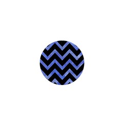 Chevron9 Black Marble & Blue Watercolor 1  Mini Button by trendistuff