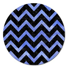 Chevron9 Black Marble & Blue Watercolor Magnet 5  (round) by trendistuff