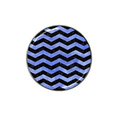 Chevron3 Black Marble & Blue Watercolor Hat Clip Ball Marker by trendistuff