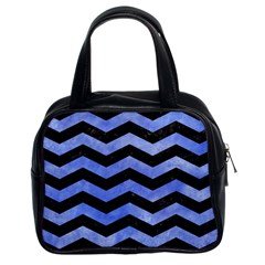 Chevron3 Black Marble & Blue Watercolor Classic Handbag (two Sides) by trendistuff