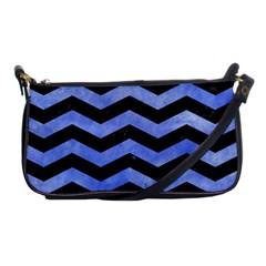 Chevron3 Black Marble & Blue Watercolor Shoulder Clutch Bag by trendistuff