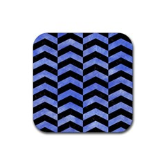 Chevron2 Black Marble & Blue Watercolor Rubber Square Coaster (4 Pack) by trendistuff