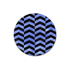 Chevron2 Black Marble & Blue Watercolor Magnet 3  (round) by trendistuff