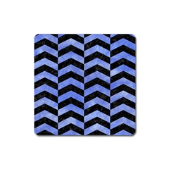 Chevron2 Black Marble & Blue Watercolor Magnet (square) by trendistuff