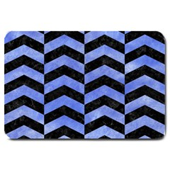 Chevron2 Black Marble & Blue Watercolor Large Doormat by trendistuff