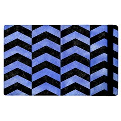 Chevron2 Black Marble & Blue Watercolor Apple Ipad 2 Flip Case by trendistuff