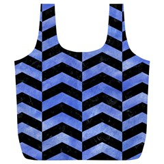 Chevron2 Black Marble & Blue Watercolor Full Print Recycle Bag (xl) by trendistuff