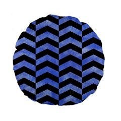 Chevron2 Black Marble & Blue Watercolor Standard 15  Premium Flano Round Cushion  by trendistuff