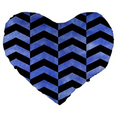 Chevron2 Black Marble & Blue Watercolor Large 19  Premium Flano Heart Shape Cushion by trendistuff